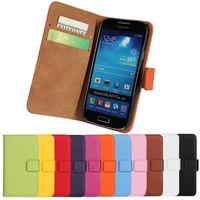 11Color,Genuine Leather Wallet Stand Case For Samsung Galaxy S4 mini i9190 Mobile Phone Bag Cover with Card Holder Black