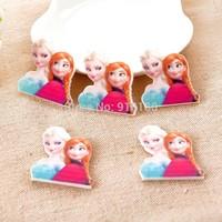 Free shipping flat DIY resin frozen Elsa and Princess Anna DIY decorative accessories MOQ 100pcs size28*27mm
