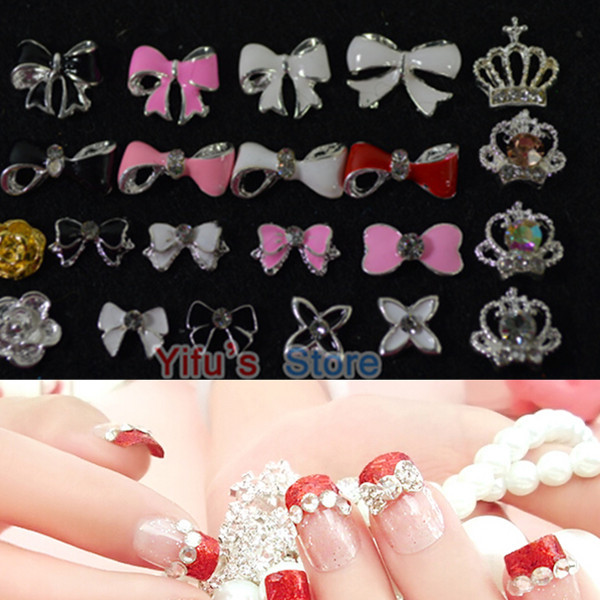 New Mixed 20pc Candy Bow Crown Crystal Decorations 3D Metal Alloy Nail Art Charm Rhinestones DIY Jewelry Nail Care Tools WM03(China (Mainland))