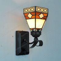Retro minimalist small wall mirror bedside glass lighting Tiffany copper mesh balcony lamp European nostalgia