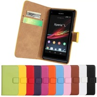 11Color,Genuine Leather Wallet Stand Case For Sony S36h Xperia L Mobile Phone Bag Cover with Card Holder Black