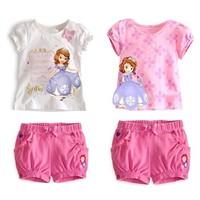 Frozen Brand Baby Girls Clothing sets girl's Sofia princess Bow short-sleeve shirts+short Kids Summer clothing New 2014 Fashion