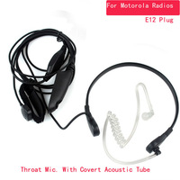 2X Thumb PTT mic Throat Vibration Microphone w covert acoustic tube & single Sensor for Motorola Multi-pin Radios GP328 338