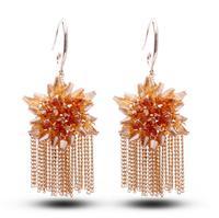 Free shipping high-end bridal jewelry Austrian crystal earrings tassel earrings sunflowers 2014507