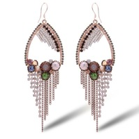 Brincos Brinco Pendientes free Shipping High-end Jewelry Austrian Crystal Earrings Exaggerated Bohemian Fringed Long 2014508