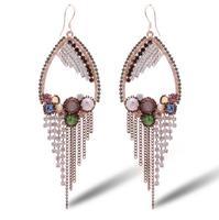 Free shipping high-end jewelry Austrian crystal earrings exaggerated earrings bohemian fringed long earrings 2014508