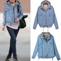 New 2014 Autumn Winter Hooded Twinset Plus Size Casacos Femininos Denim Outerwear Coat Jeans Jackets Women Free Shipping WWJ061