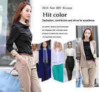 Women Spring Blusas Femininas 2014 Women Work Wear Womens Tops Fashion Full Sleeve Patchwork Casual Shirt With Pockets