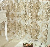 Fashion fashion double faced flock home curtain finished product window screening customize tulle curtain