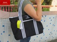 2014 Big discount Famous sports brand 100% cotton canvous black tote bag shoulder handbag 9548