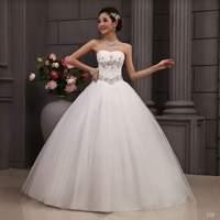 Tube Top wedding dress 2014 new fashion sexy women's lacing bandage diamonds handmade sequined bride dress