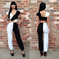 New Fashion Sexy Bandage Body Con Cocktail Party Jumpsuit Hot US M