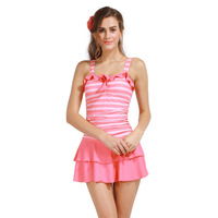 Free shipping high quality Women's swimwear striped dress one-piece swimsuit spa women's swimwear(skirt)
