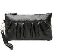 New women leather clutch bag evening bag 2014 summer women handbag cowhide soft fold fashion wallet  women leather handbag hot