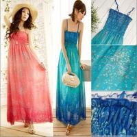 Women's 2014 spring one-piece dress bohemia gradient color chiffon suspender  full dress