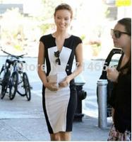 2014 women dress runway dress short sleeve One piece dress contrast color patchwork with back zipper celebrity bodycon dress