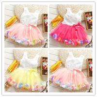 1PC New 2014 girls dress baby & kids girl dress frozen casual Rose lace caual tutu dress children vestidos de menina dresses