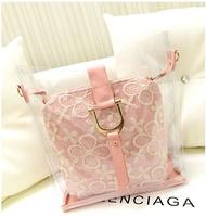 New Arrival 2014 Women's Transparent Bud Silk Handbag Trend One Shoulder Cross-body Bags Women  Messenger Bags Free Shipping