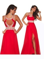 Red Beaded Already Dress Halter Chiffon High Slit Prom Dress