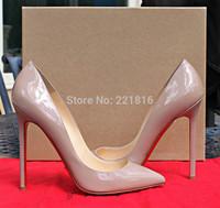 8cm/10cm/12cm hot sale brand ladies shoes patent gunuine leather pumps SO KATE designer red bottoms shoes for women