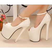 2014 women's elegant sandals ultra high heels 19cm banding bandage waterproof ultra high heels open toe women's pumps