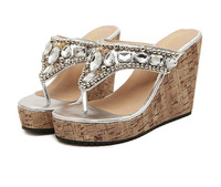 High Quality Summer Women Flip flops Sandal Wedges Heels Rhinestone Beads Silver and Gold Shoes Size 35-39