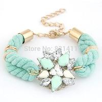 Green Ribbon Handmade Flowers Bracelets 2014 New Arrival Free Shipping