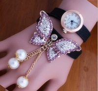 New Woman Strap Watch, Set Auger Women Clothing, Butterfly Pendant Butterfly Pearl Watches