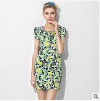 Factory direct sales of high-end women dress in summer 2014  fashion cotton dress OL Slim Diamond Dress Casual print dress