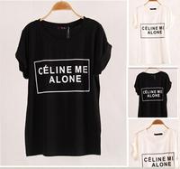 2014 fashion summer Brand Women T-shirts Ce Me Alone bats short sleeve t shirts Stretch Cotton tees Modal tops Women clothing