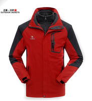 2014 Men Waterproof Outdoor Jacket, Breathable Camping & Hiking Jacket +Removable Fleece coat Windproof  Windbreaker Sportwear