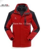 2014 Men Waterproof Outdoor Skiing Jacket, Breathable Camping & Hiking Jacket +Removable Fleece coat Windproof  Windbreaker