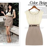 summer new women's spell color quality Slim thin sleeveless pleated dress OL m060