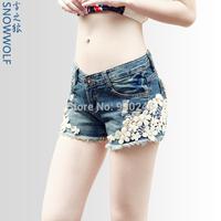 Lace denim shorts female shorts hole hot trousers white flash denim shorts casual plus size shorts  free shipping