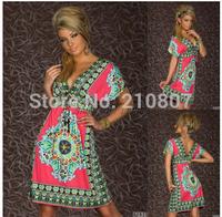2014 New V-Neck Print Bohemia Dress Sexy Beach Dress Casual Retro Dress