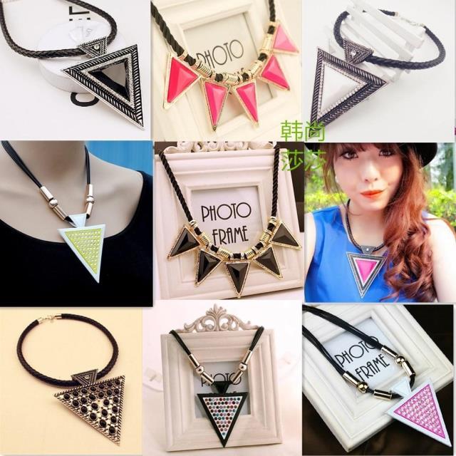 Black gem irregular necklace personality punk  triangle necklace female(China (Mainland))