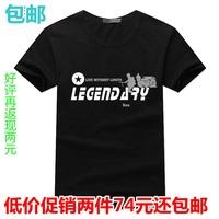 Hot-selling Top Fasion Sale 2014 Summer Sports Elastic Short-sleeve Men's Plus Size Clothing T-shirt O-neck Teenage Male Shirt