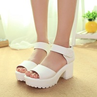 Free shipping 2014 high-heeled sandals thick heel open toe platform sandals platform sandals female shoes  Platform sandals