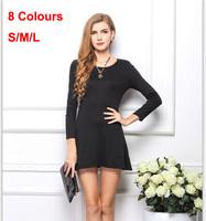 2014 Women Winter Dress Fshion Women Cheap Clothes Knee-length Dress Plus Size Casual Long Sleeve Vestidos 100% Cotton