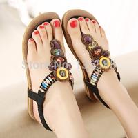 Free Shipping new black Women's Flats Sandals Bohemia Gemstone Beaded Female Flip Flops Slippers Shoes Plus Big Size 35-41