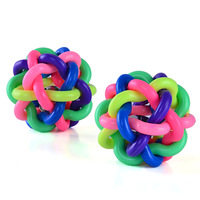 10pcs New Pet Dog Cat Toy Colorful Rubber Round Ball with Small Bell Toy