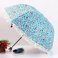 2014 free shipping fashion leopard print lace black coating folding rain umbrella women's girl's sun umbrella Rechar034
