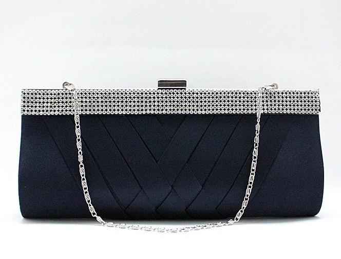 Fashion Navy Blue Ladies' Satin Rhinestone Clutch handbag Evening Bag Banquet Party Purse Makeup Bag Free Shipping 03885-J(China (Mainland))