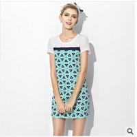 2014 summer new women clothes Geometry patchwork Straight dress O- neck short sleeve casual dress Mini dress freeshipping