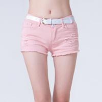 new 2014 Plus Size Denim Shorts women Low Waist Broken Hole Candy Color sexy 2014 women shorts Fashion Casual short Jeans Shorts