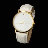 2014 New Fashion men Women casual Dress Sports Watches Geneva men Leather strap Gold dial Quartz Watches Free Shipping