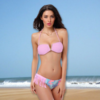 Bikini 2014 Brand Sexy Pattern Floral Print  Bikini Set Tassel Swimwear Bandeau Cheap Sexy Swimsuits Freeshipping 1427C