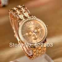 2014 New Women dress Rhinestone Watches MEN sports geneva full Steel Watches Fashion Casual Quartz watch Free Drop shipping