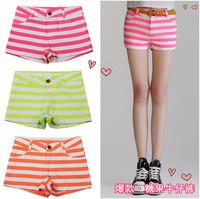 new 2014 women shorts Summer fashion sexy candy color multicolour stripe short jeans fringe denim shorts bermudas feminino saias