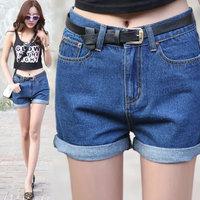 new 2014 Summer Autumn Women short jeans Fashion Loose Large Size Painted high waist shorts jeans Female Denim Shorts women